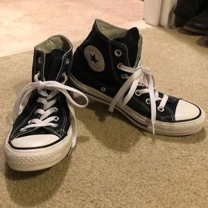 Black High-Top Converse (Women's 8/Men's 6)